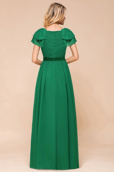 Emerald Short Sleeves Chiffon Ruffles Long Bridesmaid Dresses Online_3