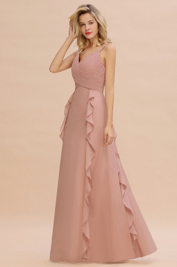 Chiffon Long Sleeveless Bridesmaid Dress with Cascading Ruffles_4