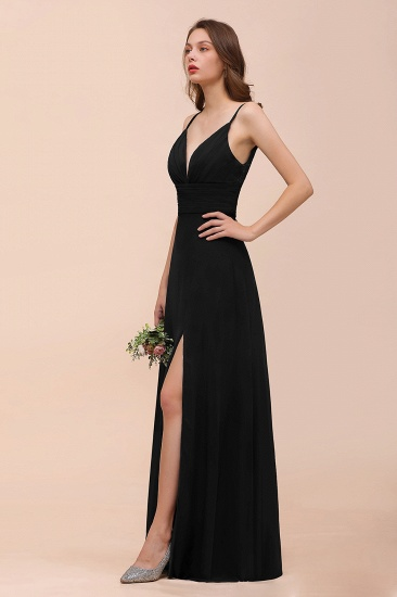 BMbridal Deep V Neck Spaghetti Straps Slit Long Black Bridesmaid Dress_6