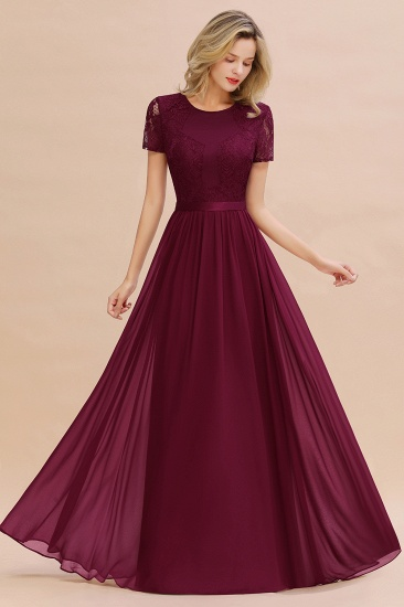 Elegant Chiffon Lace Jewel Short-Sleeves Affordable Bridesmaid Dress_44