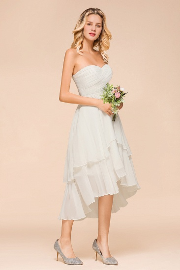 Affordable Hi-Lo Layer Ruffle Ivory Short Bridesmaid Dress with Flower_8