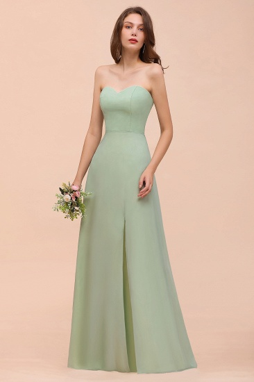 Affordable Strapless Front Slit Long Dusty Sage Bridesmaid Dress_6