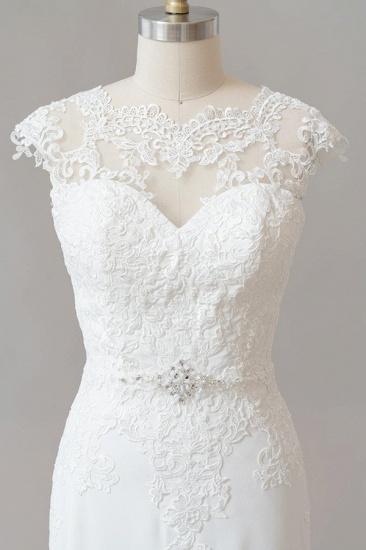 BMbridal Cap Sleeve Illusion Lace Sheath Wedding Dress On Sale_6