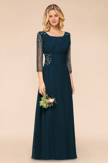 BMbridal Elegant 3/4 Sleeves Ruffle Navy Chiffon Bridesmaid Dresses with Beadings_4