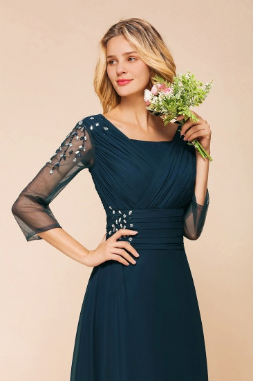 BMbridal Elegant 3/4 Sleeves Ruffle Navy Chiffon Bridesmaid Dresses with Beadings_5