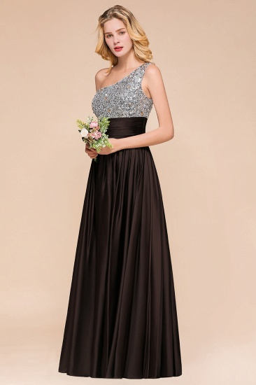Affordable One Shoulder Sequins Long Bridesmaid Dresses with Ruffle_6