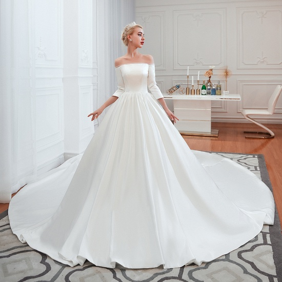 BMbridal Elegant 3/4 Sleeves Princess Satin Wedding Dress Online_7
