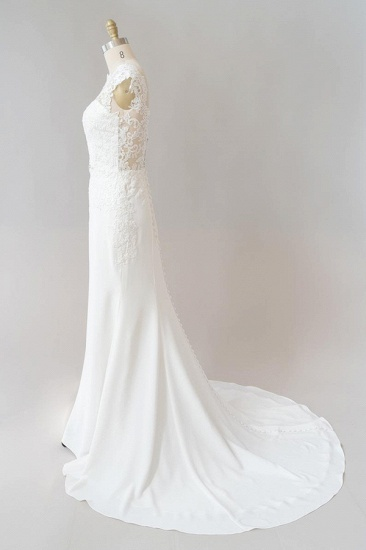 BMbridal Cap Sleeve Illusion Lace Sheath Wedding Dress On Sale_5