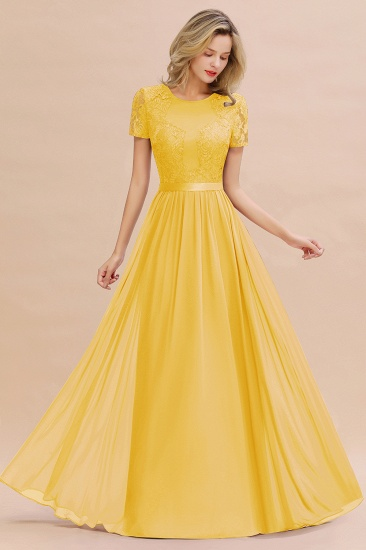 Elegant Chiffon Lace Jewel Short-Sleeves Affordable Bridesmaid Dress_17