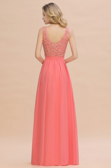 Exquisite Lace Scoop Sleeveless Bridesmaid Dresses Online with Ruffle_3
