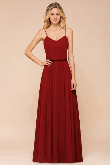 Rust Spaghetti-Starps Long Chiffon Bridesmaid Dresses Online