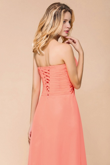 Stylish Sweetheart Ruffle Affordable Coral Chiffon Bridesmaid Dresses Online_9