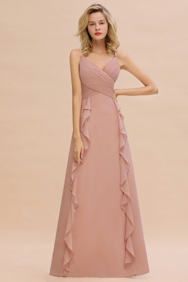 Chiffon Long Sleeveless Bridesmaid Dress with Cascading Ruffles_5