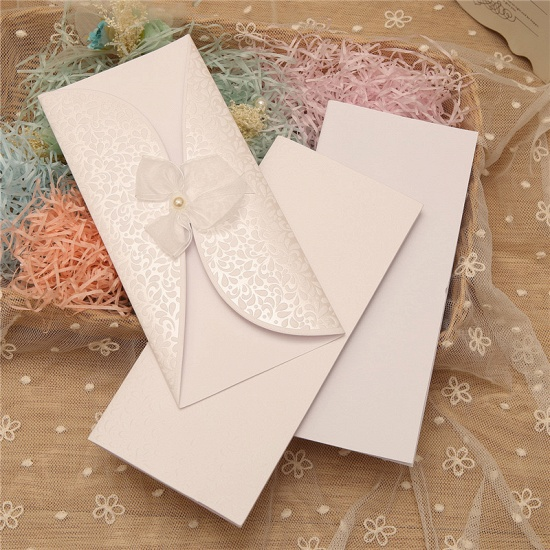 BMbridal Classic Tri-Fold Invitation Cards Pearl Bowknot Style (Set of 50)_2