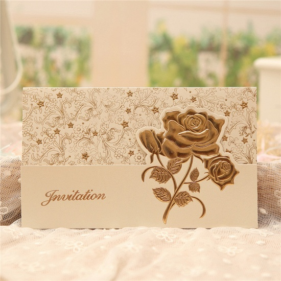Classic Tri-Fold Flower Style Invitation Cards (Set of 50)_3