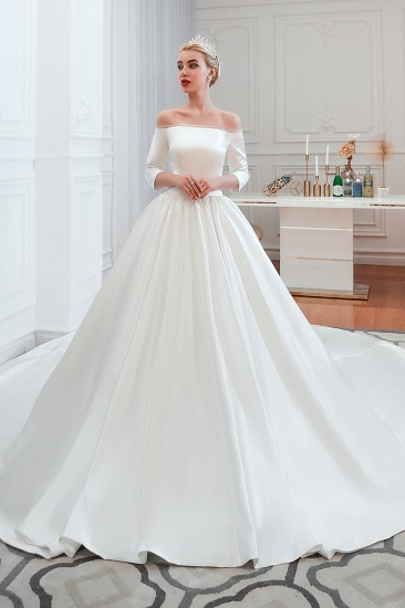 BMbridal Elegant 3/4 Sleeves Princess Satin Wedding Dress Online_2