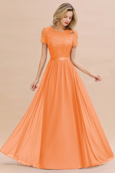 Elegant Chiffon Lace Jewel Short-Sleeves Affordable Bridesmaid Dress_15