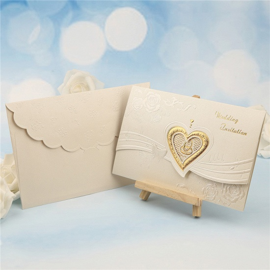 BMbridal Classic Tri-Fold Hollow Heart Style Invitation Cards (Set of 50)_4