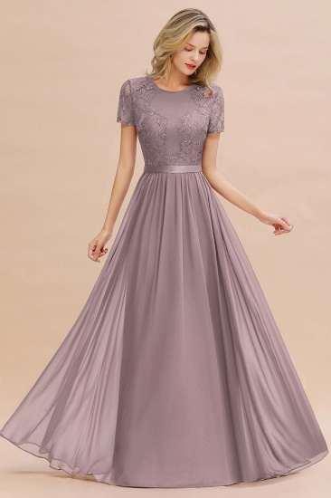 Elegant Chiffon Lace Jewel Short-Sleeves Affordable Bridesmaid Dress_37