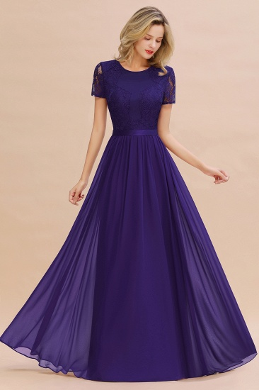 Elegant Chiffon Lace Jewel Short-Sleeves Affordable Bridesmaid Dress_19