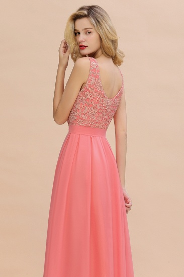 Exquisite Lace Scoop Sleeveless Bridesmaid Dresses Online with Ruffle_9