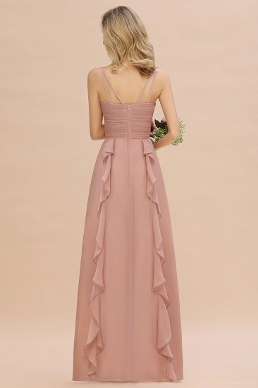 Chiffon Long Sleeveless Bridesmaid Dress with Cascading Ruffles_3