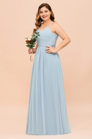 Plus Size V-Neck Ruffle Chiffon Sky Blue Bridesmaid Dresses Online_6