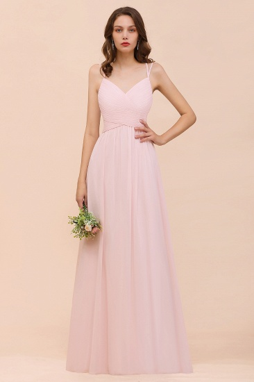 Gorgeous Chiffon Ruffle Blushing Pink Bridesmaid Dress with Spaghetti Straps_1