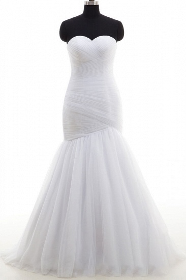 BMbridal Strapless Ruffle Tulle Mermaid Wedding Dress On Sale_1