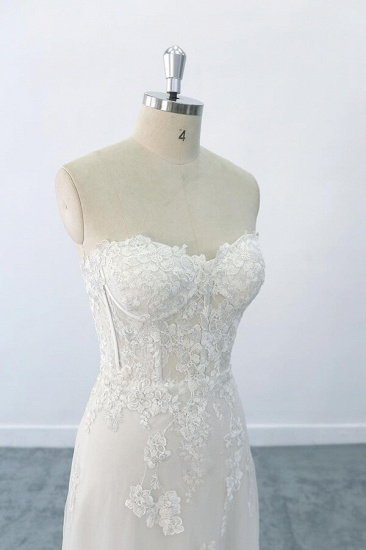 BMbridal Appliques Strapless Tulle Sheath Wedding Dress On Sale_4