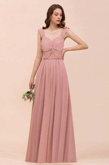 Vintage Mauve Chiffon Straps Ruffle Affordable Bridesmaid Dress_4