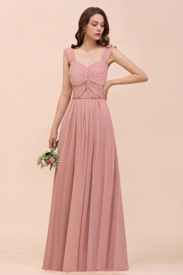 BMbridal Vintage Mauve Chiffon Straps Ruffle Affordable Bridesmaid Dress_4