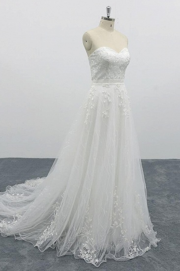 BMbridal Strapless Tulle Chapel Train A-line Wedding Dress On Sale_4