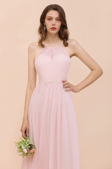 BMbridal Gorgeous Chiffon Halter Ruffle Affordable Long Bridesmaid Dress_56
