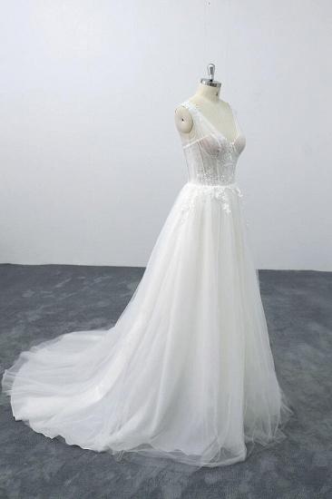 BMbridal Lace-up V-neck Appliques Tulle A-line Wedding Dress On Sale_5