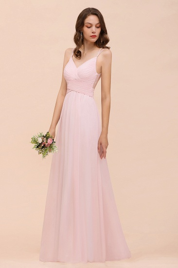 Gorgeous Chiffon Ruffle Blushing Pink Bridesmaid Dress with Spaghetti Straps_6