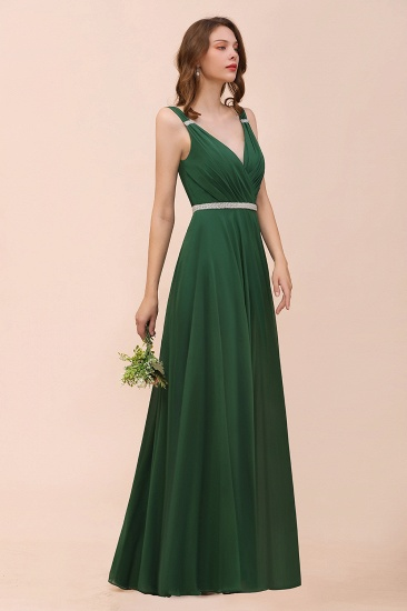 Gorgeous Chiffon V Neck Ruffle Bridesmaid Dress with Beading Sash_4