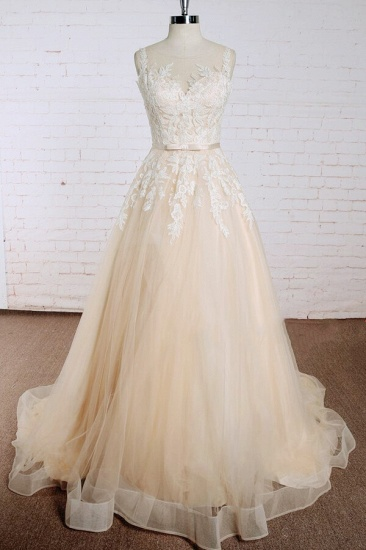 BMbridal Elegant Appliques Tulle A-line Wedding Dress On Sale_1