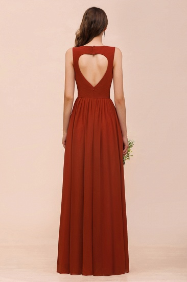 BMbridal New Arrival Gorgeous Straps Ruffle Rust Long Bridesmaid Dress_3