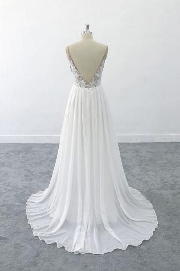 BMbridal Graceful V-neck Lace Chiffon A-line Wedding Dress On Sale_3
