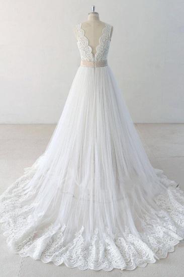 BMbridal Elegant V-neck Lace Tulle A-line Wedding Dress On Sale_3