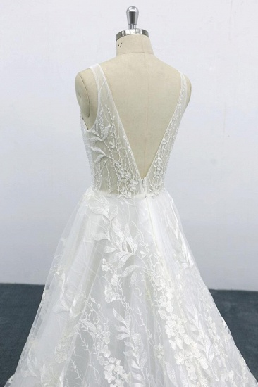 BMbridal Elegant V-neck Appliques Tulle A-line Wedding Dress On Sale_8