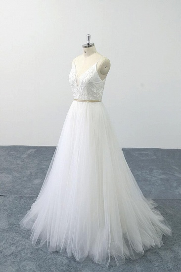 BMbridal Chic Spaghetti Strap Appliques Tulle Wedding Dress On Sale_5