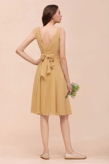 BMbridal Affordable V-Neck Ruffle Gold Short Bridesmaid Dresses with Bow_3