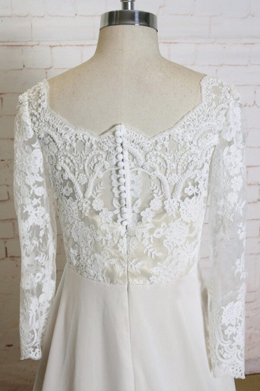BMbridal Appliques Long Sleeve Chiffon A-line Wedding Dress On Sale_5