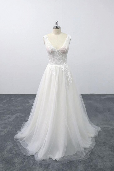 BMbridal Lace-up V-neck Appliques Tulle A-line Wedding Dress On Sale