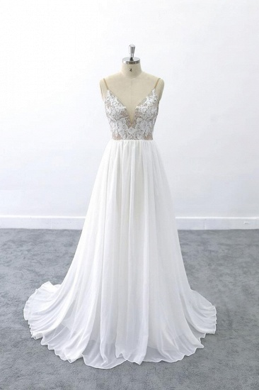 BMbridal Graceful V-neck Lace Chiffon A-line Wedding Dress On Sale_1