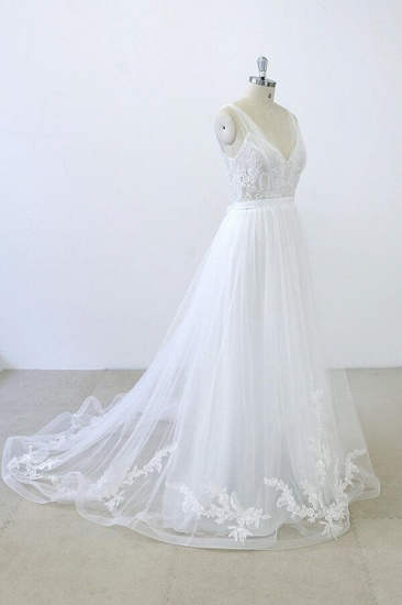 BMbridal V-neck Ruffle Applqiues Tulle A-line Wedding Dress On Sale_5