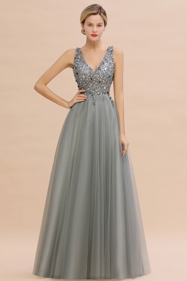 BMbridal Glamorous V-Neck Sleeveless Prom Dress Long Tulle Evening Gowns With Crystals