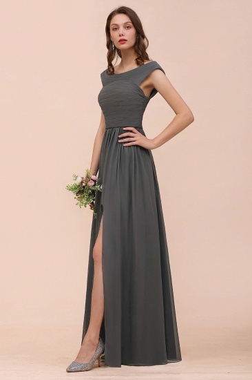 Steel Grey Off The Shoulder Ruffle Bridesmaid Dress with Slit_9
